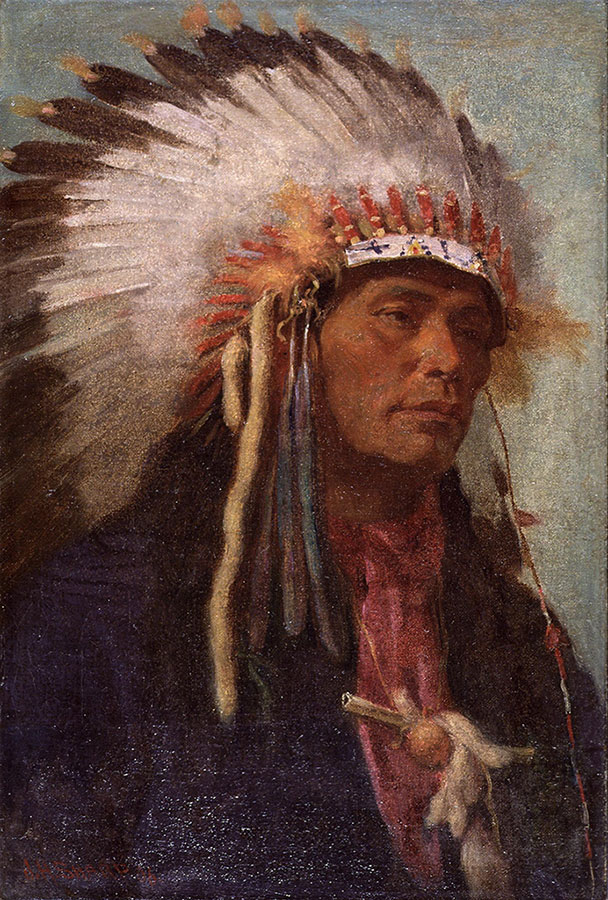 "Joseph Henry Sharp (1859–1953). ""Strikes His Enemy Pretty,"" 1906. Strikes His Enemy Pretty, a young member of the Crow tribe, posed as a model for several of Sharp's paintings. Oil on canvas, 17.75 x 11.875 inches. Whitney Purchase Fund. 21.61"