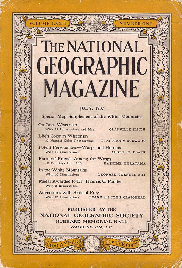 """National Geographic,"" July 1937, from Preston's private collection."