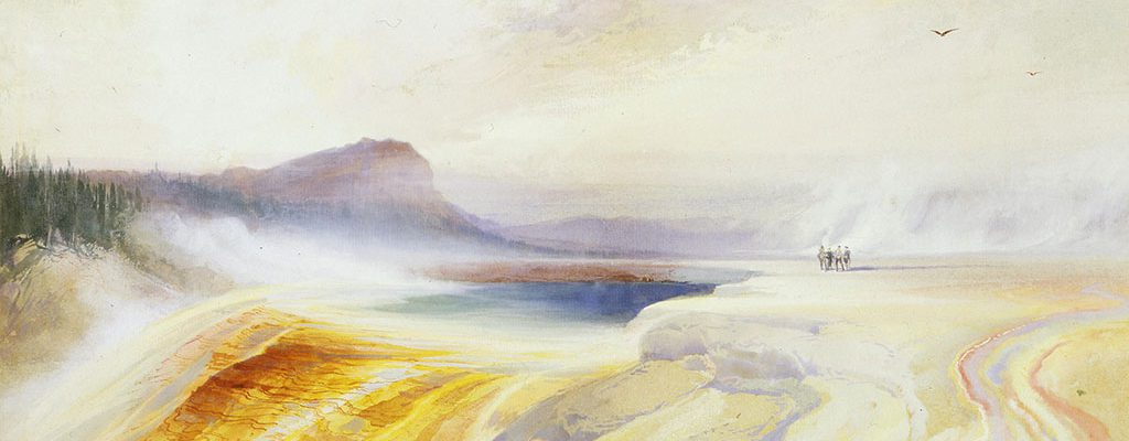 "Thomas Moran (1837–1926). ""Great Blue Spring of the Lower Geyser Basin, Firehole River, Yellowstone,"" 1872. Watercolor on paper, 18.75 x 26 inches. Purchased with funds from the William E. Weiss Fund, Mrs. J. Maxwell Moran, Wiley Buchanan III, Nancy-Carroll Draper, Nancy and Nick Petry, Steve and Sue Ellen Klein, William C. Foxley, John F. Eulich, Mary Lou and Willis McDonald IV, and D. Harold Byrd, Jr. 24.91"