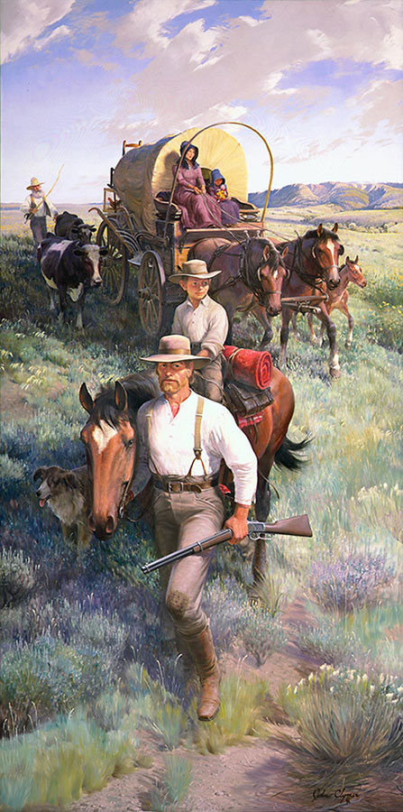 """In the mid-1800s, many a family such as this one headed West for a new life. John Clymer (1907-1989), """"The Homesteaders,"""" 1969-1970, oil on canvas, 120.25 x 60.25 inches. Gift of Winchester-Western Division, Olin Corporation. 25.70"""