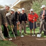 Left to right: Byron Price, Charles R. Preston, Alan K. Simpson, Colin Marshall, Nancy-Carroll Draper, and Willis McDonald IV breaking ground for the Draper Natural History Museum, 2000.
