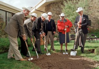 Left to right: Byron Price, Charles R. Preston, Alan K. Simpson, Colin Marshall, Nancy-Carroll Draper, and Willis McDonald IV at the groundbreaking for the Draper Natural History Museum, 2000.