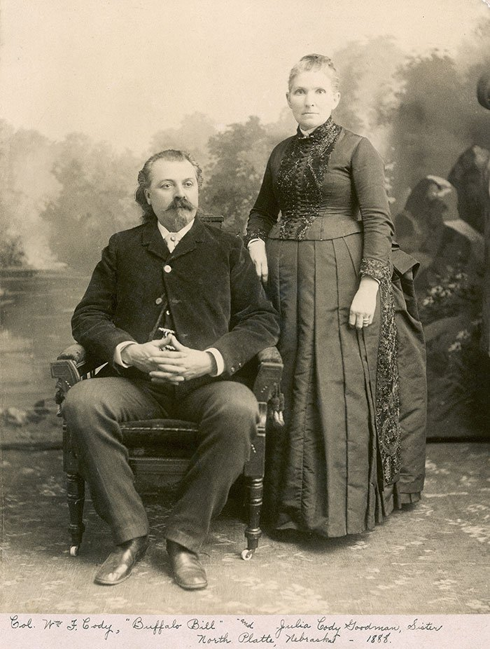 "William F. Cody and his sister Julia remained close until his death in 1917. Inscribed ""Col. William F. Cody Buffalo Bill and Julia Cody Goodman, Sister/North Platte, Nebraska—1888."" MS 6 William F. Cody Collection. P.69.214"