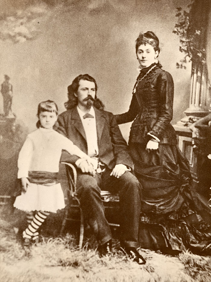 William F. Cody, his wife Louisa, and their oldest daughter Arta, ca. 1871. MS 6 William F. Cody Collection. P.69.239