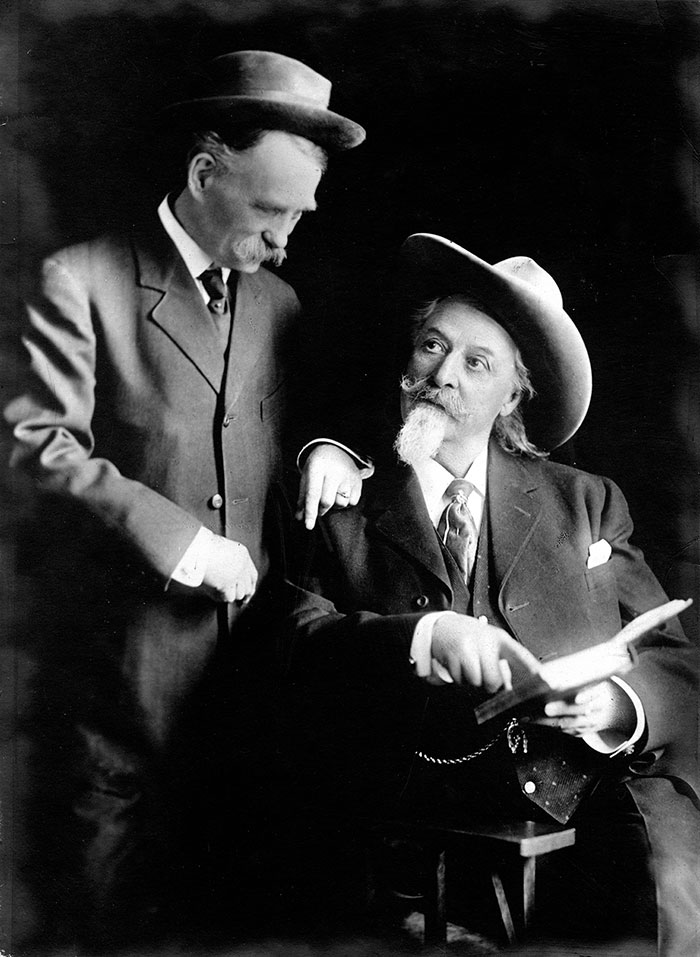 Cody with Dan Winget, about 1912. Winget penned several works about his friend Buffalo Bill. MS 6 William F. Cody Collection. P.69.736