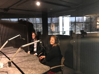 Misty Springer and Marco Polo in the studio at the Center of the West. The spoke recently about their international research as part of the World to Wyoming series. Credit: Jean Anne Garrison.
