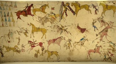 Mee-nah-tsee-us (White Swan) (ca. 1851–1904). Apsaalooke (Crow), Montana. Painting, ca. 1887. Muslin, pencil, ink, watercolor, 37.25 x 70.5 inches. The Paul Dyck Plains Indian Buffalo Culture Collection, acquired through the generosity of the Dyck family and additional gifts of the Nielson Family and the Estate of Margaret S. Coe. NA.702.40