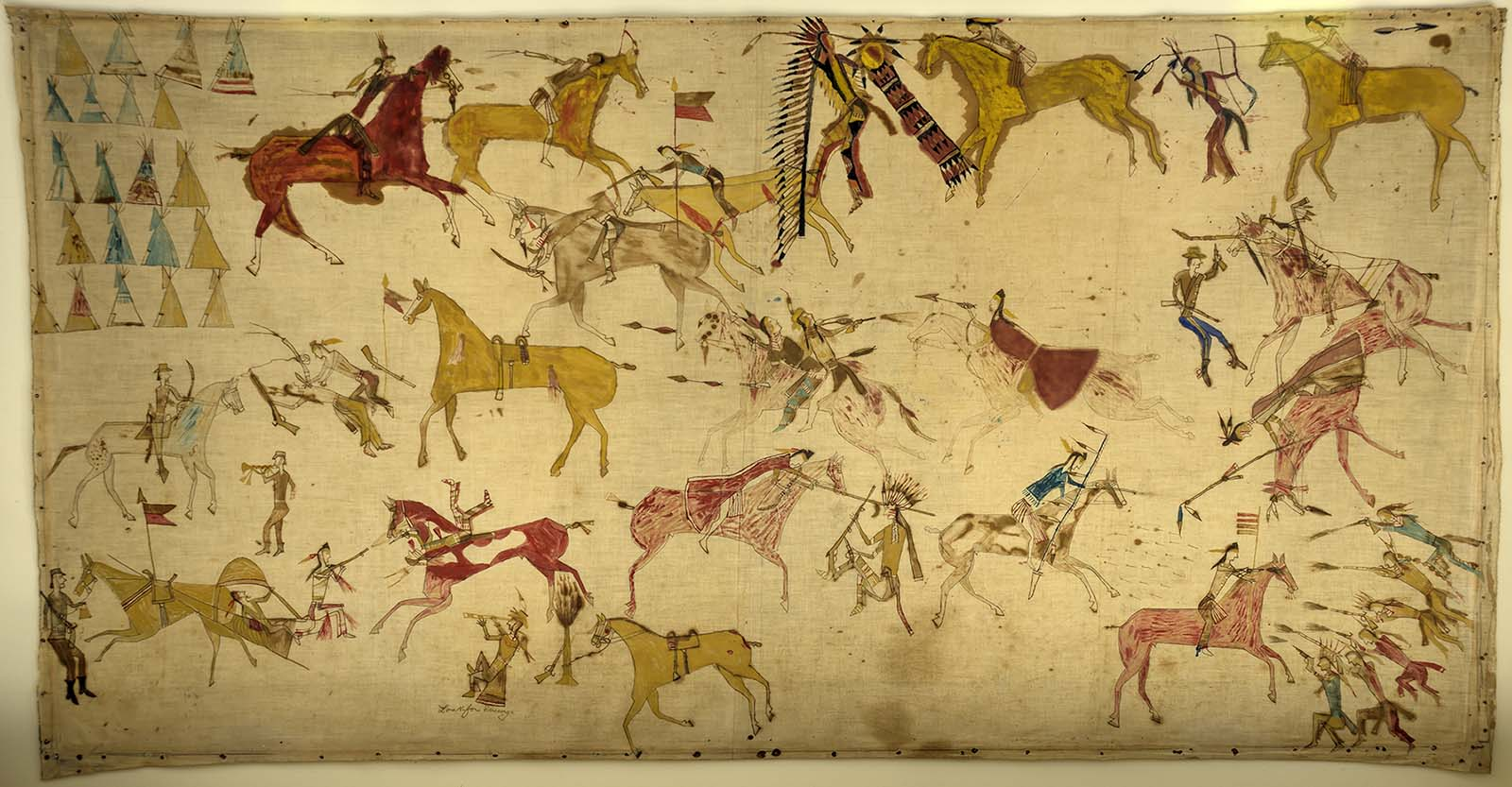 Mee-nah-tsee-us (White Swan) (ca. 1851-1904). Apsaalooke (Crow), Montana. Painting, ca. 1887. Muslin, pencil, ink, watercolor, 37.25 x 70.5 inches. The Paul Dyck Plains Indian Buffalo Culture Collection, acquired through the generosity of the Dyck family and additional gifts of the Nielson Family and the Estate of Margaret S. Coe. NA.702.40
