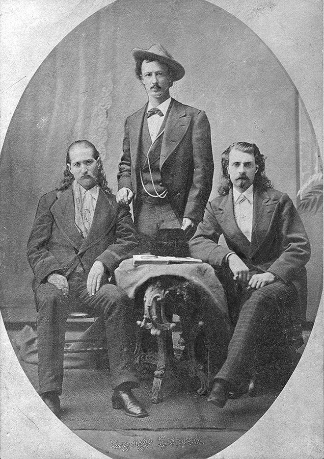 Wild Bill, Texas Jack, and Buffalo Bill. Three friends dress for the camera and pose for posterity about 1873. MS 6 William F. Cody Collection. P.69.2179