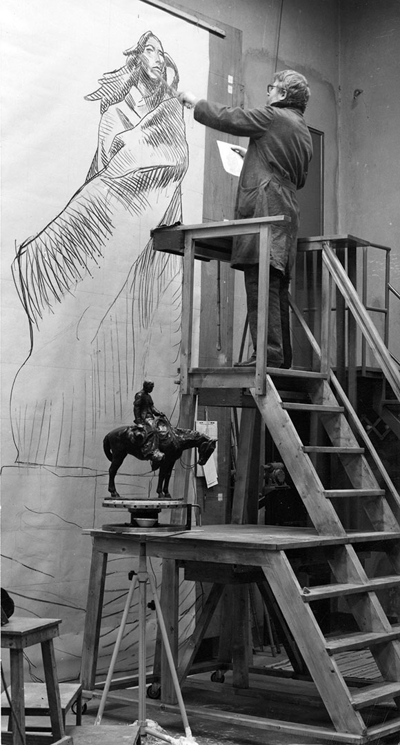 """As Harry Jackson was creating """"Sacajawea,"""" ever in the background of his studio in Camaiore, Italy, was his life-size drawing of the sculpture."""