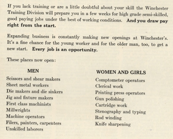 Winchester Employment ad for women and men