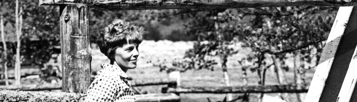 Amelia Earhart, ca. 1934–1936 at the Double D Ranch on the Wood River in northwest Wyoming. MS 3 Charles Belden Collection. P.67.1477