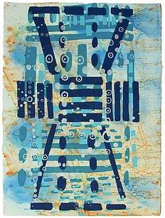 "John Hitchcock. ""Treasure Lake,"" 2017. Screenprint and dye on paper, 20 x 22 inches."