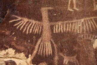 Thunderbird rock art at Legend Rock State Petroglyph Site, 55 miles southeast of Cody, Wyoming. C.R. Preston photo.