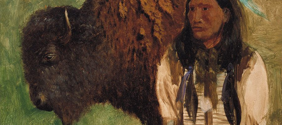 """Fig. 4, """"Head of Buffalo and Indian,"""" ca. 1859. Oil on board. Autry Museum of the American West, Los Angeles, California. 88.108.14 [L.2018.6.1]"""