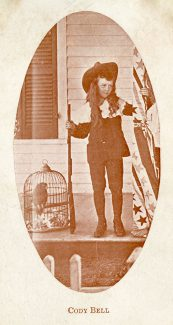"""Leonard Cody Bell, about 1903. With his long curly hair and velvet suit, Cody Bell looked every inch like the character in Frances Hodgson Burnett's popular book """"Little Lord Fauntleroy."""" MS 294 Bell Family Collection. P.294.23"""