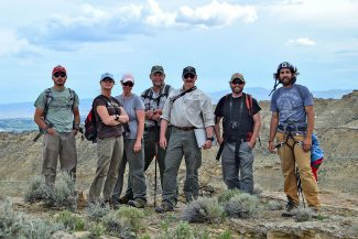 Members of the research team (L-R): Nate Horton, Bonnie Smith, Melissa Hill, Richard Jones, project director Charles Preston, BLM wildlife biologist Destin Harrell, and Nick Ciaravella. Moosejaw Bravo Photography.