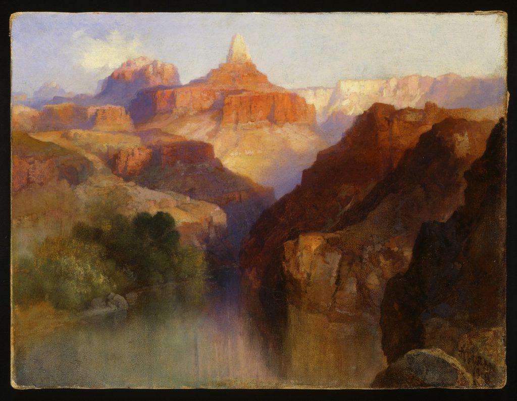 Thomas Moran (1837-1926). Zoroaster Peak (Grand Canyon, Arizona), 1918. Oil on canvas, 9 x 12 inches. Purchased by the Board of Trustees in honor of Peter H. Hassrick. 11.96