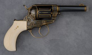 Colt Model 1877 Thunderer double-action revolver, embellished by Robert Wielgus, 2004–2006. Gift of Raymond J. Wielgus. 2010.17.36.1