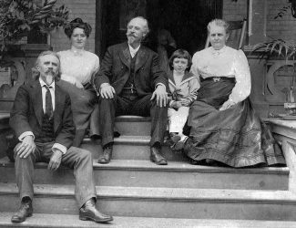 Left to right: John S. Bell, Miss Mary Buckley, Col. Wm. F. Cody, Master Charles H. Bell, and Mrs. John S. Bell. MS 6 William F. Cody Collection. P.69.1067 (detail)