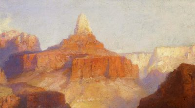 Thomas Moran (American, born England, 1837-1926). Zoroaster Peak (Grand Canyon, Arizona), 1918. Oil on canvas, 9 x 12 inches. Purchased by the Board of Trustees in honor of Peter H. Hassrick. 11.96 (detail)