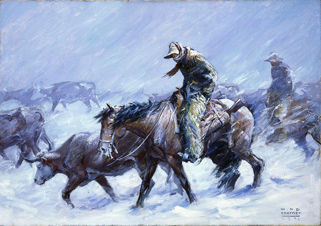 "W.H.D. Koerner (1878-1938). ""Hard Winter, The Snow Eddied And Whirled About The Men. They Were Muffled to the Eyes by Their Neck Scarfs. Night Had Descended By The Time They Returned To The Ranch House,"" 1932. Oil on canvas, 29 x 41.125 inches. 23.77"