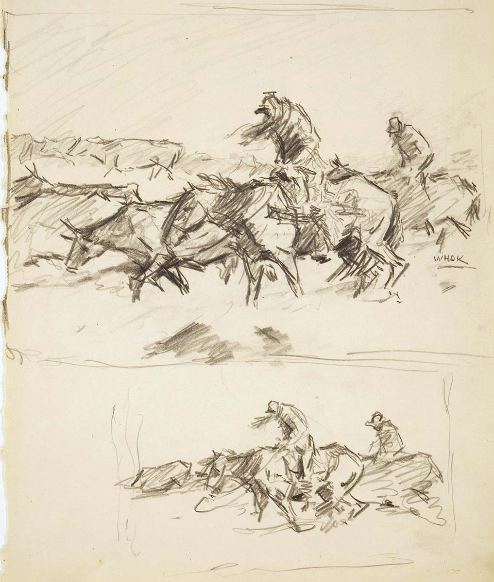 "W.H.D. Koerner (1878-1938). Pencil sketch for ""Hard Winter,"" 1932. Gift of Ruth Koerner Oliver and W.H.D. Koerner III. 5.78"