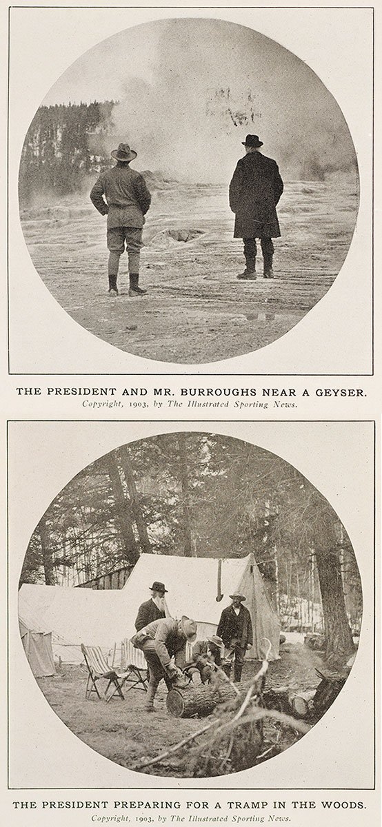 The President and Mr. Burroughs Near a Geyser; and The President Preparing for a Tramp in the Woods. 1903, The Illustrated Spring News.