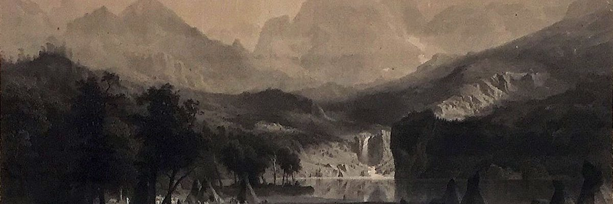 """After Albert Bierstadt (1830–1902). James Smillie, engraver. THE ROCKY MOUNTAINS, 1866, engraving. Buffalo Bill Center of the West, Cody, WY. Gift of Irving H. """"Larry"""" Larom, 68.72"""