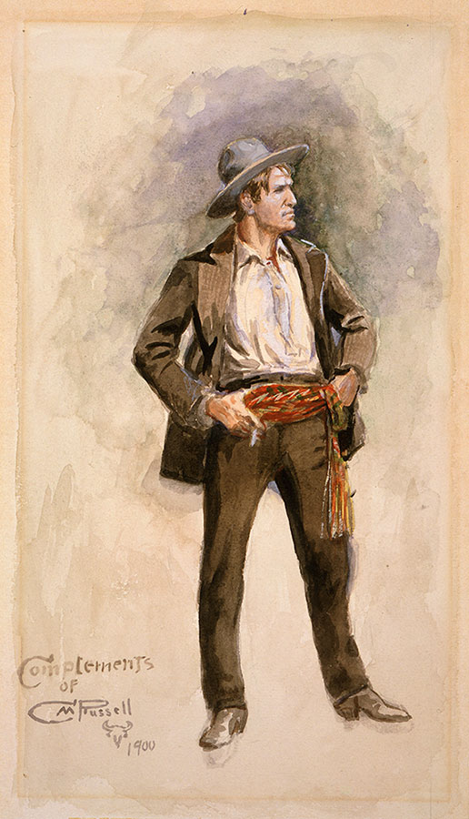 Charles M. Russell (1864-1926). Self Portrait, 1900. Watercolor on paper, 12.375 x 6.875 inches. Gift of Charles Ulrick and Josephine Bay Foundation, Inc. 98.60