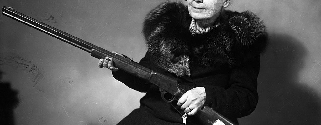 A Treasure from Our West: Photograph, Mary Jester Allen with Frank Butler's rifle, ca. 1950. MS 228 Buffalo Bill Museum Photographs Collection. PN.228.202