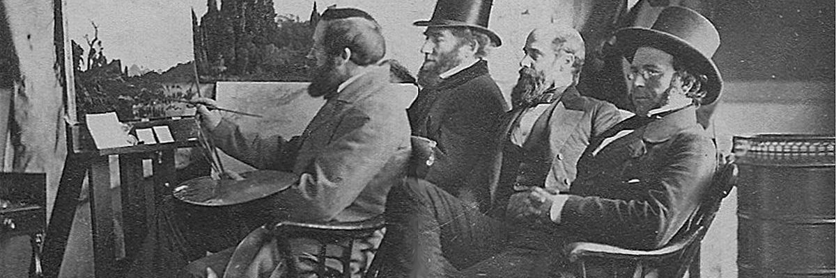 Bierstadt Brothers. BIERSTADT AT HIS EASEL, 1859. Stereograph (detail). Collection of William L. Schaeffer.