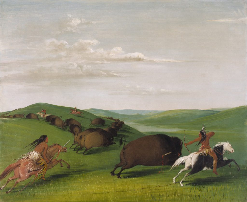 George Catlin (1796–1872). Buffalo Chase with Bows and Lances, 1832–1833. Oil on canvas. Smithsonian American Art Museum, Washington, D.C. Gift of Mrs. Joseph Harrison, Jr., 1985. 1985.55.410