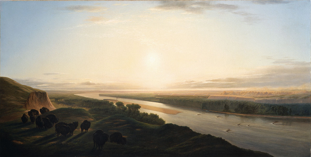 """In the early-to-mid nineteenth century, the Missouri River marked the western edge of the American frontier. William Jacob Hays Sr. (1830–1875). """"A Herd of Bison Crossing the Missouri River,"""" 1863. Oil on canvas, 36.125 x 72 inches. Gertrude Vanderbilt Whitney Trust Fund Purchase. 3.60"""