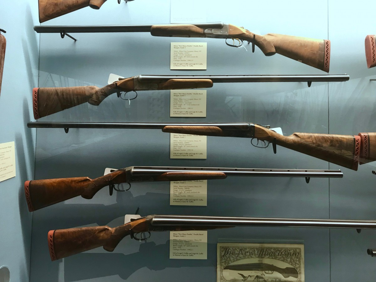 A few of the guns in the Ithaca Gun Company Case at the Cody Firearms Museum. Most are New Ithaca Doubles.