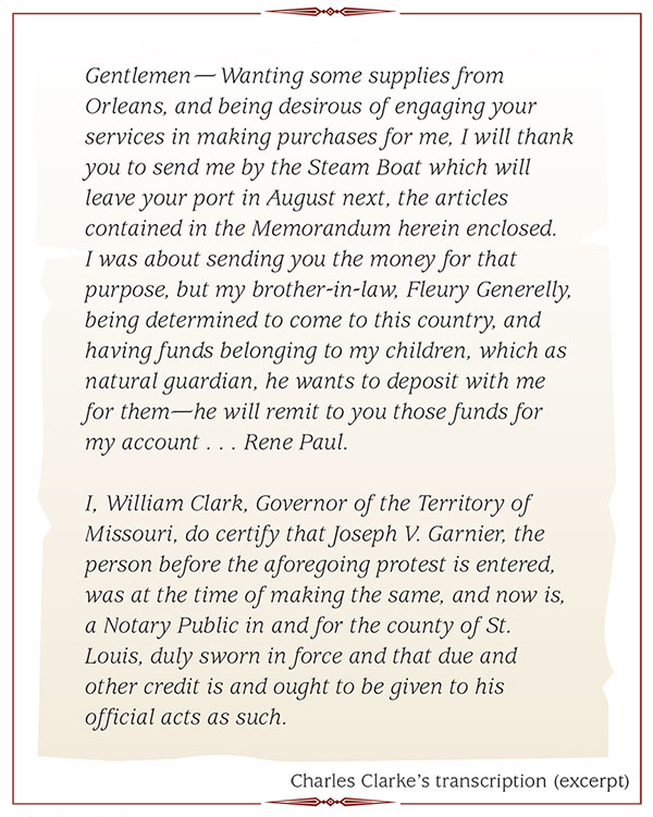 An excerpt from Charles Clarke's transcription of a William Clark letter.
