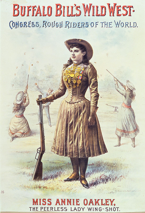 "The ""little markswoman,"" Annie Oakley, ""who broke flying glass balls as easily as a drunkard breaks the commandments."" Wild West poster, ca. 1890. A. Hoen & Co., Baltimore. Four-color lithograph poster, 28.5 x 19 inches. Gift of the Coe Foundation. 1.69.73"