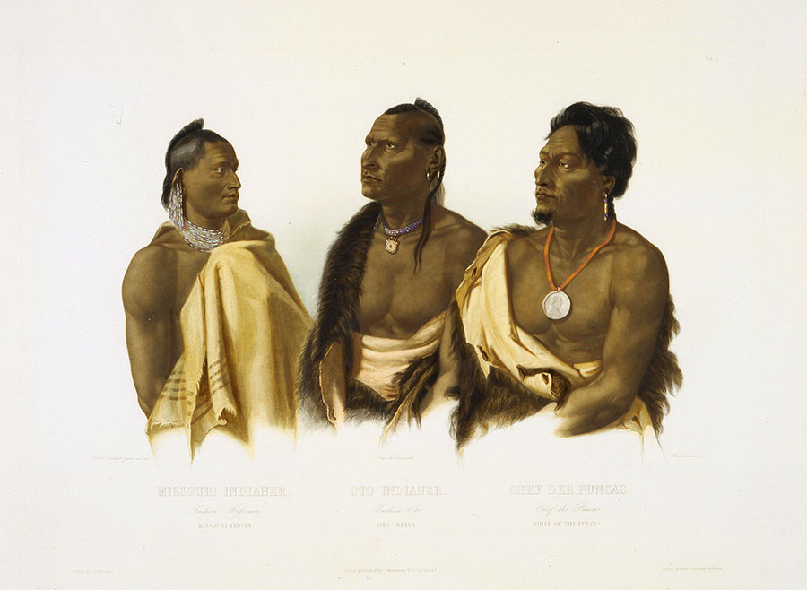 """Bodmer's paintings of Native peoples gave Fritz a sense of the culture that awaited the Corps of Discovery. Karl Bodmer (1809-1893). """"Missouri Indian, Oto Indian, Chief of the Poncas,"""" ca. 1840-1843. Hand-colored aquatint on paper, 18.125 x 24.875 inches. Gift of Clara S. Peck. 21.69.7"""