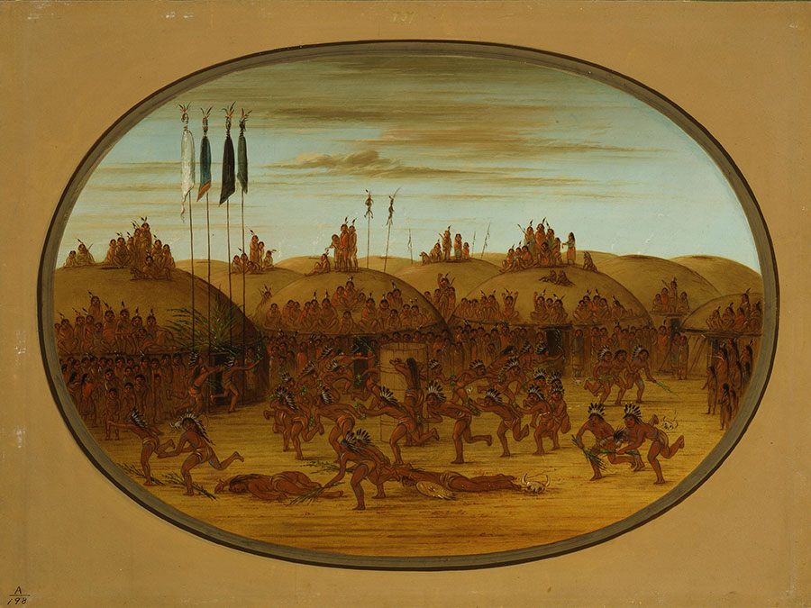 """Both Catlin and Fritz depicted the Mandans of the Lewis and Clark journals. George Catlin (1796–1872). """"The Last Race, Mandan (Eeh-K'na-K'nah),"""" 1855–1870. Oil on paperboard, 18.5 x 25 inches. Gift of Paul Mellon. 28.86"""