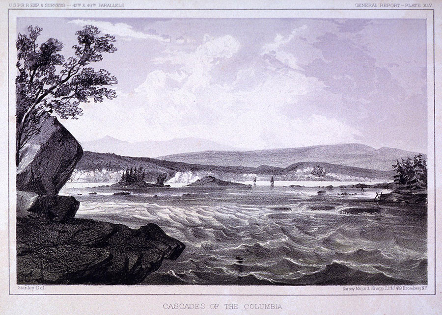 """John Mix Stanley, an adventurer at heart, canoed down the Columbia River beginning in 1847 and painted the interesting landmarks and peoples he encountered. John Mix Stanley (1814–1872). """"Cascades of the Columbia,"""" ca. 1860. Lithograph on paper, 8 x 11 inches. Gift of David E. and Dianne L. Michener and James H. and Nancy L. Michener. 2.87.7"""