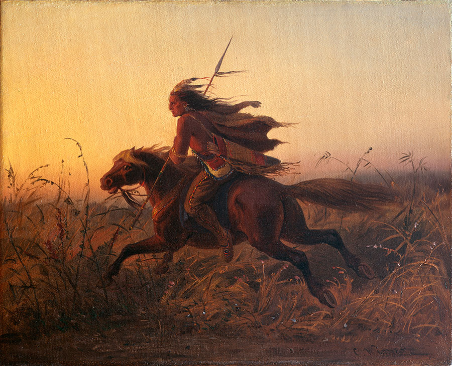 """Wimar's style was romantic and theatrical, unlike Fritz's more realistic technique. Carl Wimar (1828-1862). """"On Pursuit,"""" ca. 1850-1860. Oil on canvas, 12.75 x 15.5 inches. Gift of Mr. and Mrs. W.D. Weiss. 13.98.2"""