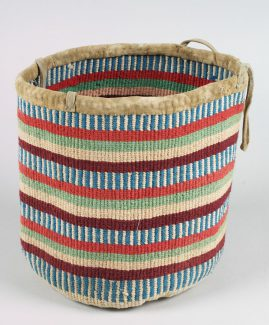 Yakama Berry bag, ca. 1905. hide, string, dye, deer. NA.106.119