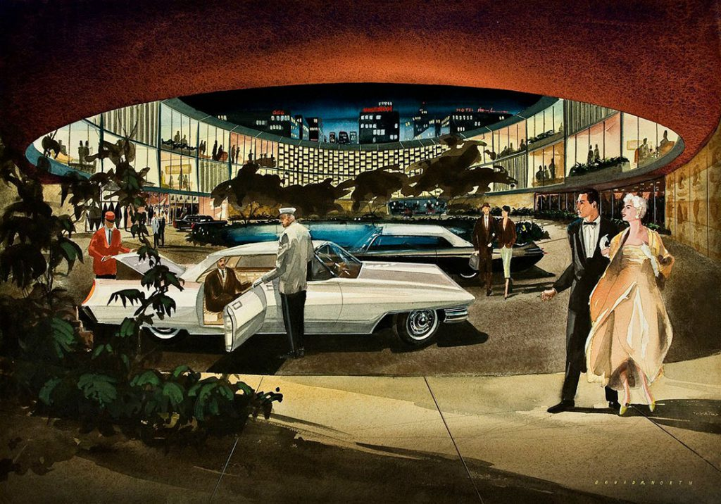 As a teenager, David North drew this elegant auto showroom.
