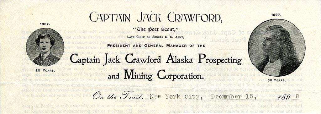 Portion of the letterhead of Crawford's Alaska Prospecting and Mining Corporation, December 15, 1898. MS 322 John Wallace Crawford Collection. MS322.03.09.06