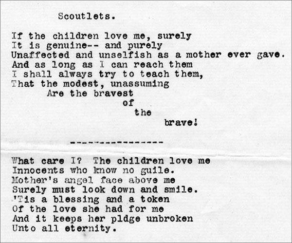 Typewritten poem by Crawford, undated. MS 322 John Wallace Crawford Collection. MS322.08.05.03