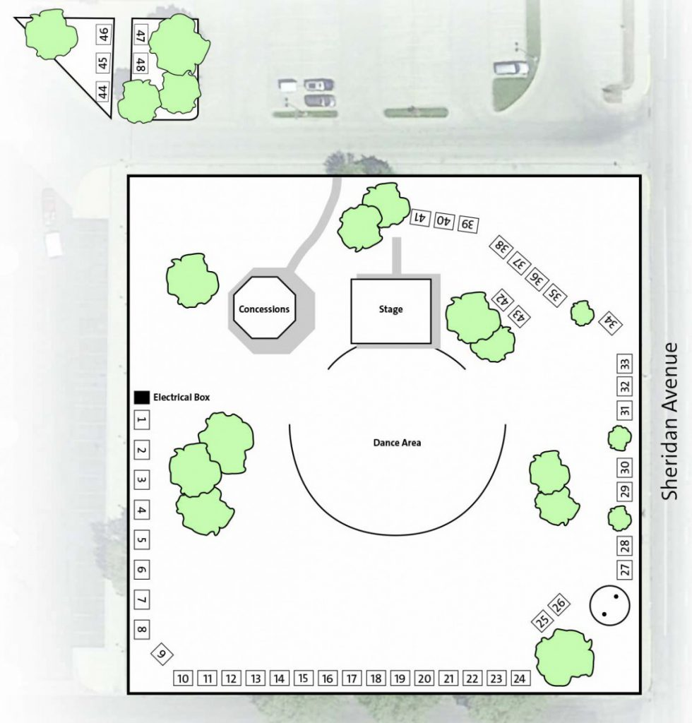 Powwow vendor spaces diagram