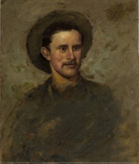 Alexander Phimister Proctor (1860-1950). Proctor Self-Portrait, 1882. Oil on paperboard, 26 x 22 inches. Buffalo Bill Center of the West, Cody, Wyoming. Gift of A. Phimister Proctor Museum with special thanks to Sandy and Sally Church. 2.16.9