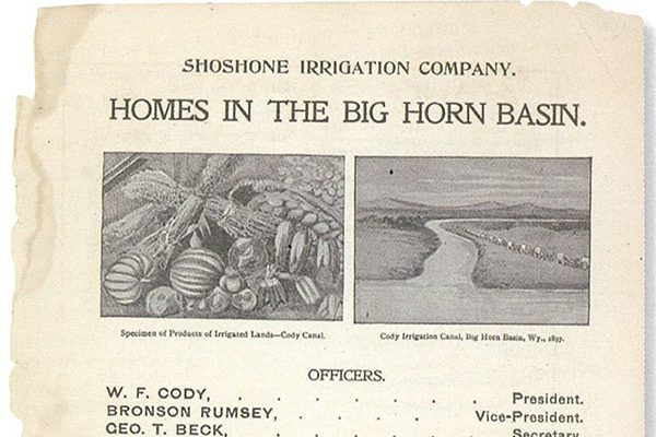 """Even in his route book/program, Buffalo Bill promoted the Shoshone Irrigation Company and """"Homes in the Big Horn Basin."""" MS 6 William F. Cody Collection. MS6.6.A.4.9.1.01b (detail)"""