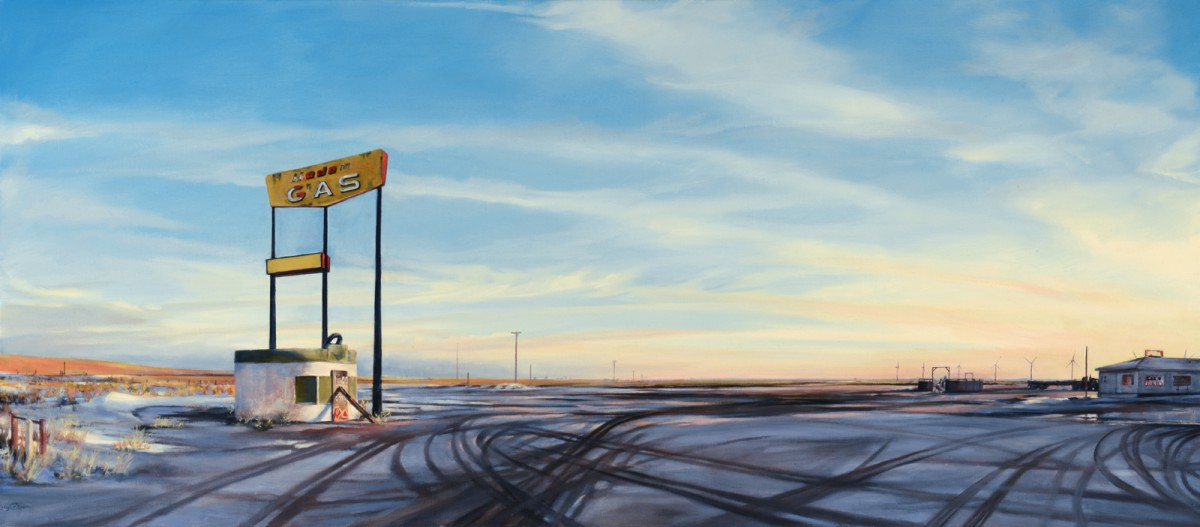 Don Stinson (b. 1956). I-80 Energy Romance, 2013. Oil on linen, 28 x 64 inches. Gift of The Alexander Bodini Foundation, in memory of Alexander Bodini. 15.13