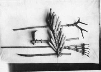 "Native agricultural tools belonging to Buffalo Bird Woman, ca. 1870. Museum of the Rockies, Bozeman, Montana. ""Fair use"" 6825. Digital Public Library of America."